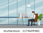 happy businessman working on a... | Shutterstock .eps vector #1174649482