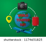 paper world tourism day tourism ... | Shutterstock .eps vector #1174651825
