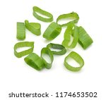 chopped green onions on white | Shutterstock . vector #1174653502