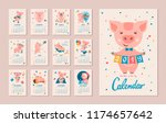 monthly calendar. pig is a... | Shutterstock .eps vector #1174657642