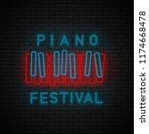 piano symbol neon. piano... | Shutterstock .eps vector #1174668478
