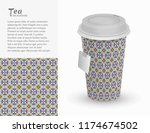 cardboard paper cup of tea with ... | Shutterstock .eps vector #1174674502