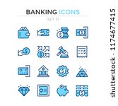 banking icons. vector line... | Shutterstock .eps vector #1174677415