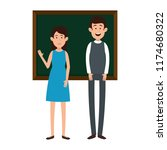 teachers couple teaching with... | Shutterstock .eps vector #1174680322