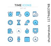time icons. vector line icons... | Shutterstock .eps vector #1174683748