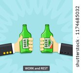 two hands holding the beer... | Shutterstock .eps vector #1174685032