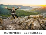 a young traveler sits on a...   Shutterstock . vector #1174686682