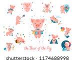 big set of cute cartoon piggies ... | Shutterstock .eps vector #1174688998