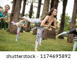 pilates outdoors session ... | Shutterstock . vector #1174695892