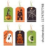 set of cute halloween tags....   Shutterstock .eps vector #1174707748