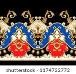 border with golden baroque... | Shutterstock .eps vector #1174722772