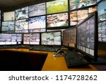 the control room of the city... | Shutterstock . vector #1174728262