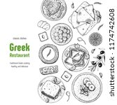 greek cuisine top view. a set... | Shutterstock .eps vector #1174742608