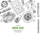 greek cuisine top view. a set... | Shutterstock .eps vector #1174743055
