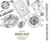 greek cuisine top view. a set... | Shutterstock .eps vector #1174743055