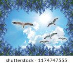 3d background for room blue sky ...   Shutterstock . vector #1174747555
