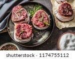 beef tenderloin steaks wrapped...   Shutterstock . vector #1174755112