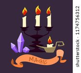 halloween candles and crystals. ... | Shutterstock .eps vector #1174756312