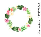 flowers wreath. floral tropical ... | Shutterstock .eps vector #1174763665