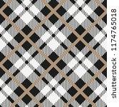 black and white tartan diagonal ... | Shutterstock .eps vector #1174765018