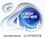 christmas card. snowy hill with ... | Shutterstock .eps vector #1174783378