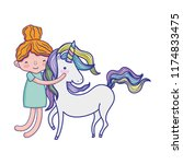 happy boy hugging beauty unicorn | Shutterstock .eps vector #1174833475