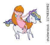 beauty girl and unicorn with... | Shutterstock .eps vector #1174833982