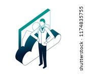 elegant businessman with cloud... | Shutterstock .eps vector #1174835755