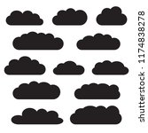 cloud icon set  black isolated... | Shutterstock .eps vector #1174838278