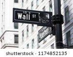wall st. street sign in lower...   Shutterstock . vector #1174852135
