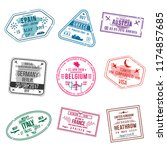 set of visa stamps for... | Shutterstock .eps vector #1174857685