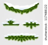 collection of fir garlands with ... | Shutterstock .eps vector #117488122