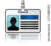 Glossy vector illustration showing a name tag reflected on a white background - stock vector