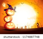halloween pumpkin pile. stacked ... | Shutterstock .eps vector #1174887748