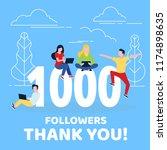 thank you 1000 followers... | Shutterstock .eps vector #1174898635