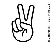 hand gesture v sign for victory ... | Shutterstock .eps vector #1174905205