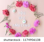 minimal flat lay  you are... | Shutterstock . vector #1174906138