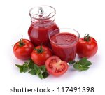 jug  glass of tomato juice and... | Shutterstock . vector #117491398