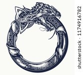 ouroboros tattoo. celtic dragon ... | Shutterstock .eps vector #1174916782