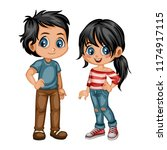 cute cartoon boy and girl in... | Shutterstock .eps vector #1174917115