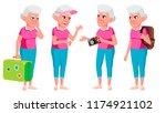 old woman poses set vector.... | Shutterstock .eps vector #1174921102