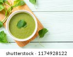 spinach soup bowl   healthy... | Shutterstock . vector #1174928122