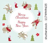 christmas card with funny deer   Shutterstock .eps vector #1174949635