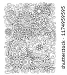 adult coloring page with... | Shutterstock .eps vector #1174959595