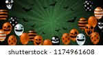 halloween background with scary ... | Shutterstock .eps vector #1174961608