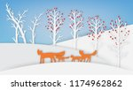 winter landscape with red fox...