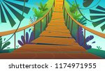 suspension bridge in a jungle... | Shutterstock .eps vector #1174971955