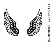 hand drawn eagle wings... | Shutterstock .eps vector #1174977685