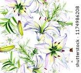 delicate lilies in watercolor...   Shutterstock . vector #1174986208