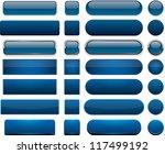 set of blank dark blue buttons... | Shutterstock .eps vector #117499192
